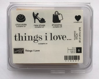 Things I Love - Stampin' Up! - NEW Wood Mounted Rubber Stamp Set - Retired