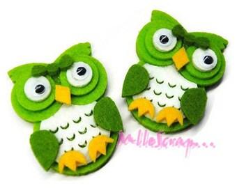 Set of 2 green felt OWL embellishment scrapbooking (ref.310). *.
