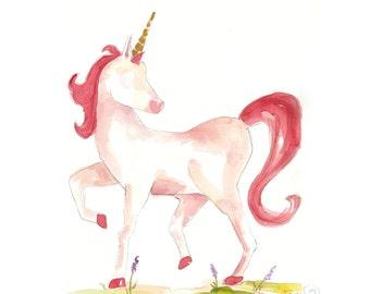 Watercolor Unicorn Print (pink)