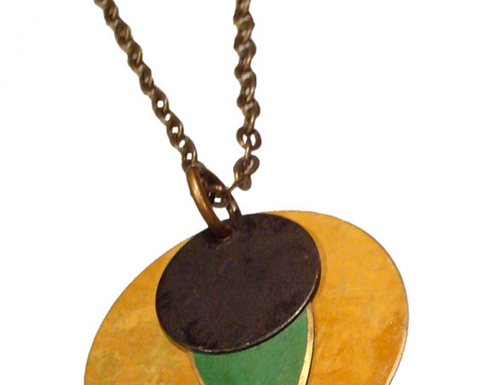 Large Round Brass Patina Pendant in Mustard, lime and Black