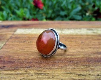 Silver Carnelian Ring / Sterling Silver Ring / Carnelian Statement Ring / Large Carnelian Ring / Carnelian Jewelry / Gemstone Ring