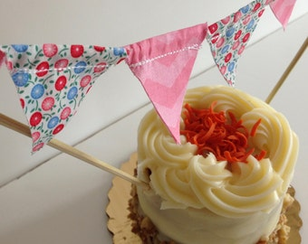 CAKE TOPPER BIRTHDAY Girl Pink--Cake Topper Baby Shower Girl--Girl Smash Cake--Pink Fabric Cake Bunting Flags--Baby Shower Birthday Daughter