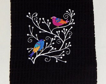 Whmsical Wintry Wild Birds Embroidered Kitchen Towel