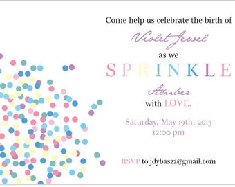 PRINTED Sprinkle Baby Shower Invitation