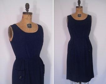 1940s 1950s navy sleeveless sheath dress • 40s 50s ink blue wiggle dress with oversized pockets • vintage minimalist Princess Peggy dress