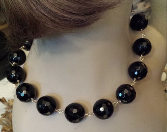 Faceted large black onyx stone one strand necklace