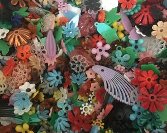 Over the Rainbow Vintage Plastic Flowers (over 160 pieces)