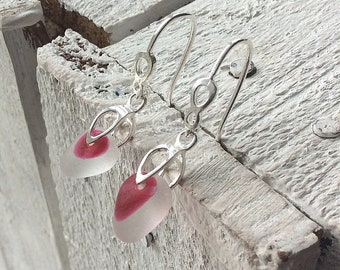 Pink End of Day Sea Glass Sterling Silver Earrings, Seaham Sea Glass