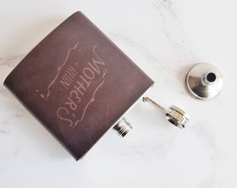 Customised Gin Hip Flask, Mothers Day Gift personalised leather hip flask Vintage speakeasy design mothers ruin gin gift hen do stag do gift