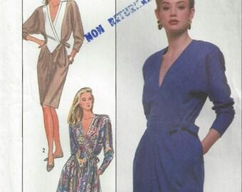 1980's V Neck Dress Shaped Bodice Kimono Sleeves Elastic Waist Front Wrap Gathered Skirt Simplicity 8736 Size 10 12 14 Bust 32.5 34 36