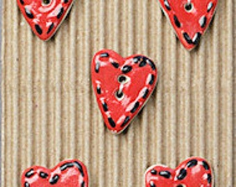 5 Heart Buttons, Red, Pastel, Decorated, Handmade, Fully Washable, Incomparable Buttons, ButtonMad, Pastel, Red, Pattern