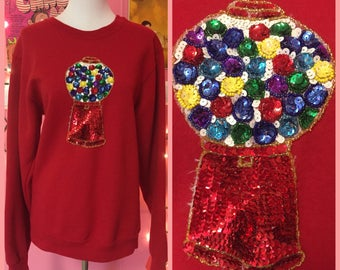 80s sequin gumball machine novelty sweater