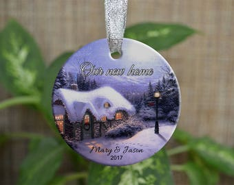 Personalized Christmas Ornament, Our new home ornament, Custom Christmas Ornament, Housewarming gift, Wedding gift, Christmas gift. o036