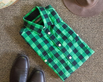 Green and black gingham shirt