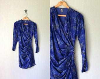 Vintage EMANUEL UNGARO Dress • 1990s Designer Clothing •Bright Blue Silk Wrap Mini Long Sleeve •Ready Wear Parallele Paris • Small 2 4 6