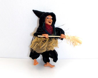 Halloween, Witch on broom, Witch decor, Doll, witch Doll, witch pendant, doll pendant, Witch, Witch ornament, Halloween Gift, Broom