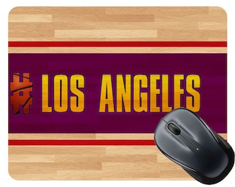 Basketball Team Hashtag Los Angeles Purple and Gold #LosAngeles Purple and Gold Square Mouse Pad