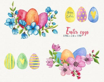 Easter eggs, Easter clipart, vector easter clipart, watercolor easter clipart