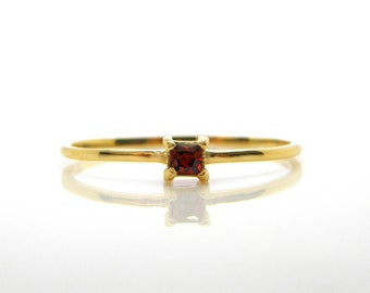 Dainty gold ring gemstone ring garnet ring simple thin ring stacking rings everyday birthstone ring stackable mothers rings red stone ring