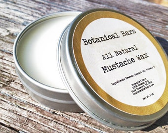 All Natural Mustache Wax 2 oz - Beard Wax - Gift for Him - Mustache Care