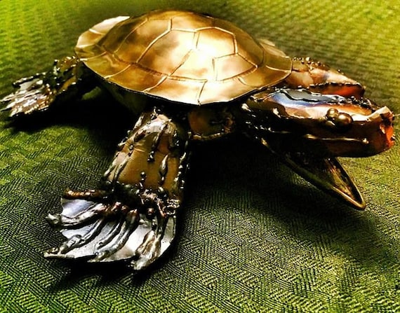 "Turtle metal sculpture, 10"", hand made, signed steel sculpture, indoor/ outdoor"