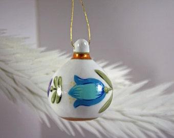 Hand Painted Folk Art Tulip Gourd Ornament 198, Small Spring Decor, Hostess Gift, White Blue Gold Decor, Easter Gift, Folk Art Flowers