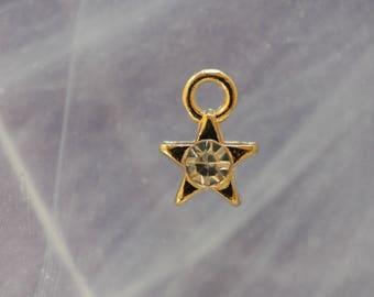 rhinestone brass star charms