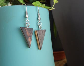 Triangle earrings wood, recycling glasses, natural, sustainable, ecofriendly, Wood Earrings, recycling, handmade