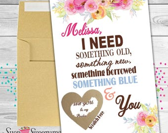 Something Old scratch off bridesmaid card