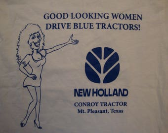 Vintage 90's New Holland Conroy Tractor Mt. Pleasant, Texas  Women Funny White T Shirt Size S
