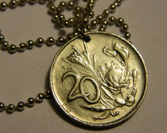 1977 South Africa Coin Pendant and Chain Necklace Protea Flower Coin Necklace