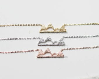 Gold Mountain Top Necklace, Dainty Mountain Pendant Necklace, Snowy Mountain Top Necklace, Mountain Charm, Nature Jewelry, gift ideas