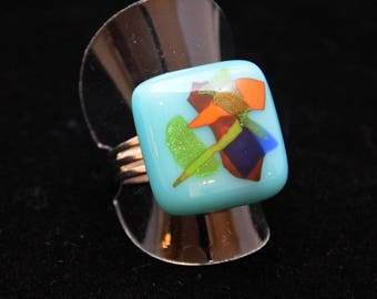 Turquoise pattern ring multicolor abstract metallic reflections, adjustable