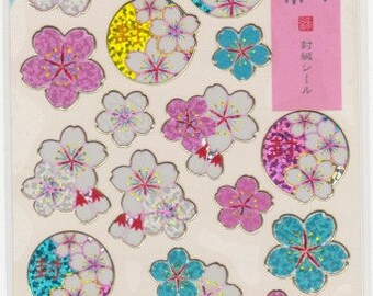 Sakura Stickers - Cherry Blossom Stickers - Shiny Stickers - Gold Trim - Reference A4934A4985