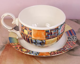 "Ceramic Cup and Saucer Set, Modern Handmade Cup with Saucer , Porcelain tea cup and saucer ""Patchwork"""