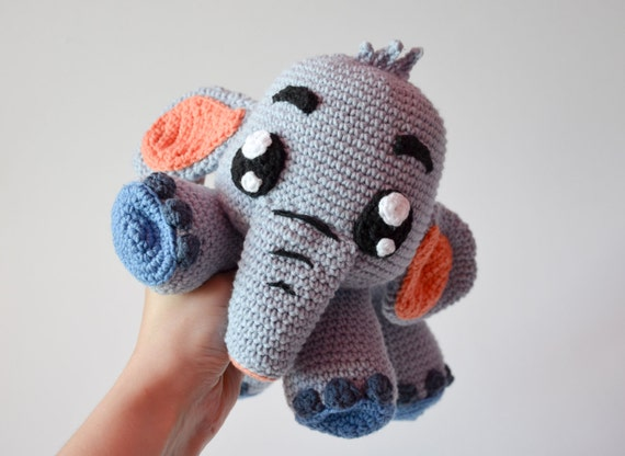 Crochet Pattern Grey Elephant Echo By Krawka Cute Crochet
