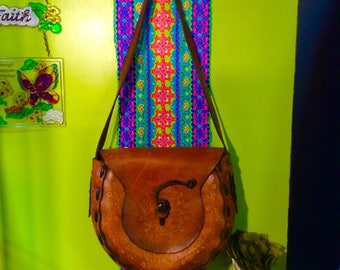 Vintage 1970s Groovy Girl Tuled Leather Purse XL!