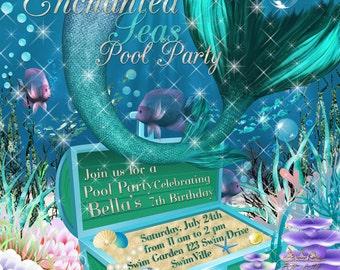 Mermaid Pool Party Invitation, Mermaid Pool Party, Under the Sea Mermaid Invitations,Birthday  Pool Party, Sea Birthday Party Invitations
