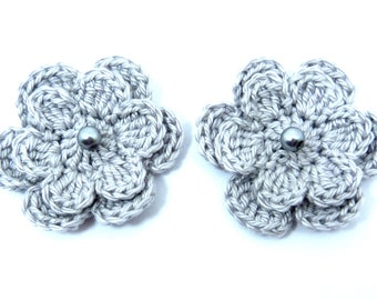 Crochet appliques, 2 silver grey two-layer crochet flowers, cardmaking, scrapbooking, appliques, craft embellishments and sewing accessories