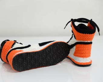 BLACK FRİDAY SALE Men's shoes, Crochet Air Jordan 1 Retro Orange Sneaker, shoes, air jordan 1 flyknit, jumpman shoes, crochet sneaker