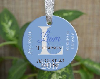 Personalized Christmas Ornament, Baby First Christmas ornament, Custom Ornament, Newborn baby gift, penguin ornament, Christmas gift. o088