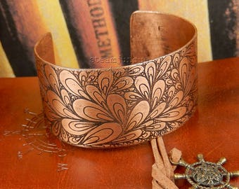 Copper bangle, etched copper cuff, etched copper bracelet, copper bangle, statement bracelet, statement jewellery, hand drawn pattern