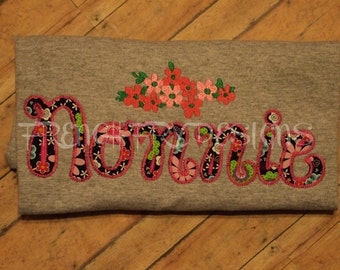 NONNIE applique Short-Sleeve T-Shirt for Grandmother Customized and Personalized