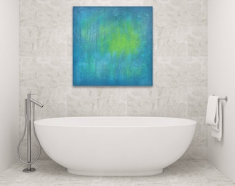 Blue, green, teal abstract painting, 30 x 30 - Abstract 185, contemporary modern art, abstract painting, abstract wall decor, blue wall art