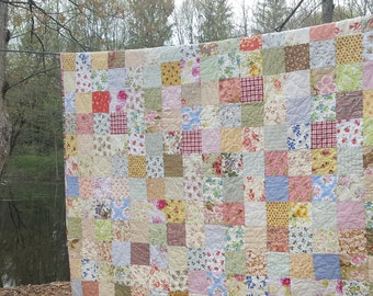 Full size READY TO SHIP Quilt, 81 X 81, Cottage Chic--double, Cotton--flowers, checks, pink, yellow, green, floral, scrappy, traditional