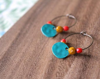 turquoise, mustard, bright coral red czech glass painted brass hoop earrings