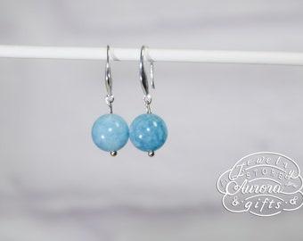earrings of blue chalcedony silver earrings earrings with blue stone earrings as a gift silver jewelry gift blue earrings simple earrings