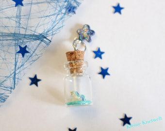Unicorn charm Miniature Glass Bottle Pendant polymer clay jewelry