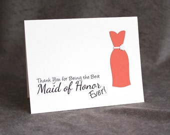 Best Maid of Honor Ever | Thank You Maid of Honor Card | Matron of Honor Card | Personalized Handmade Card