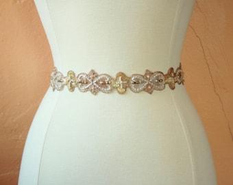Romantic Gold and Blush Wedding Sash